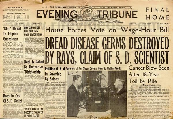 San Diego Evening Tribune, le 6 mai 1938